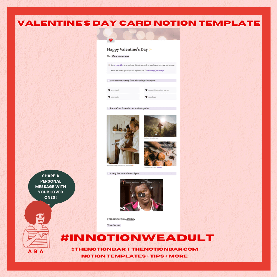 Valentine's Day Card Notion Template