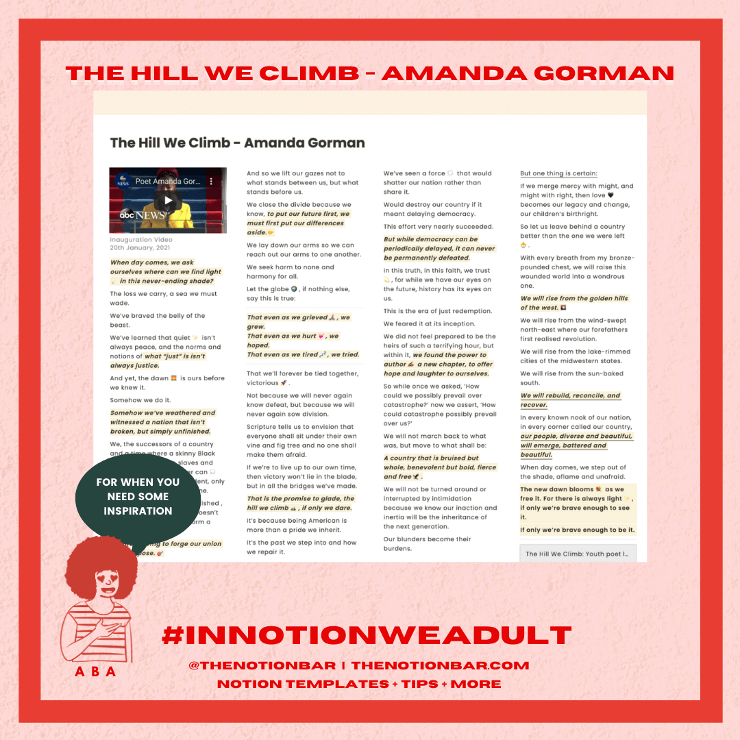 The Hill We Climb - Amanda Gorman Notion Template