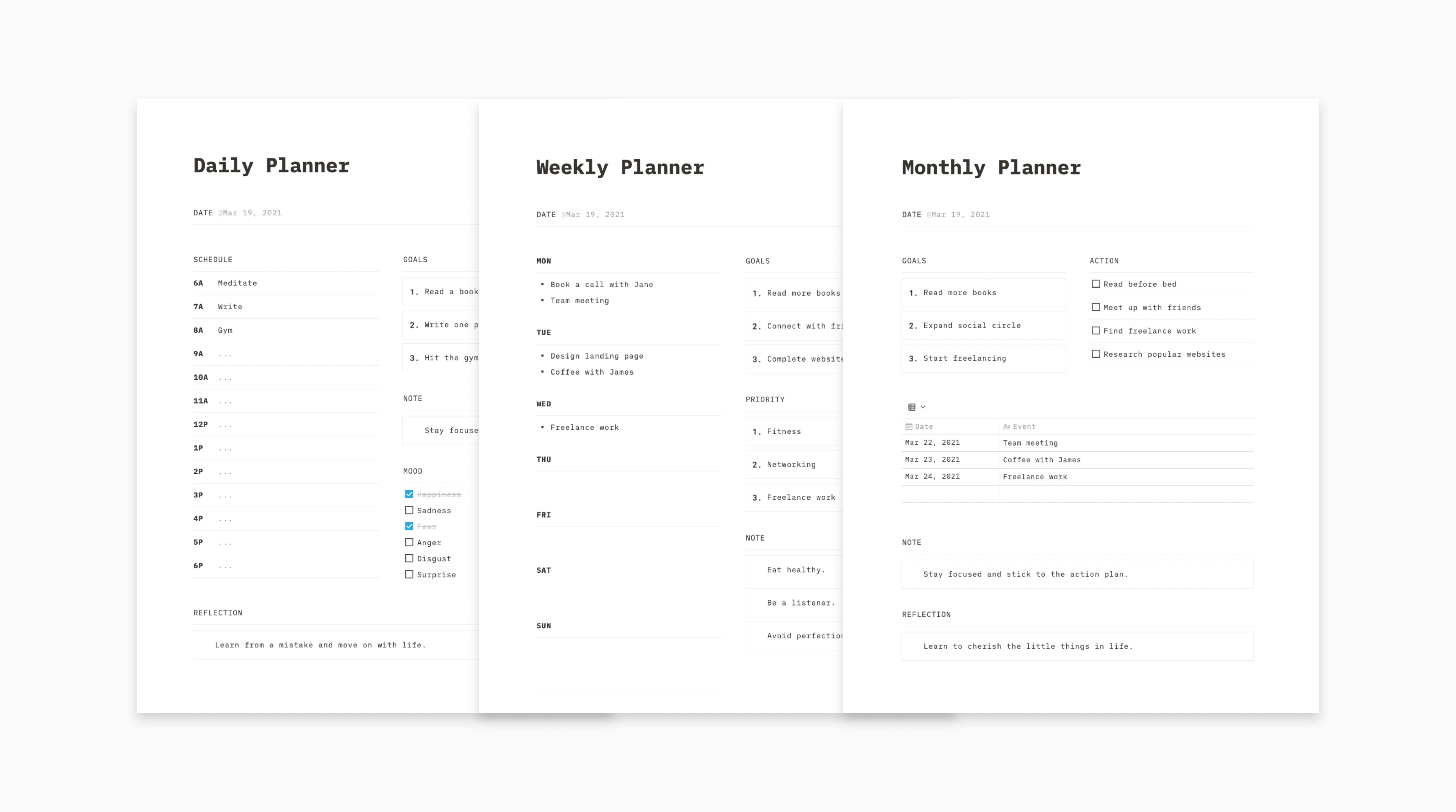 Notion Planners