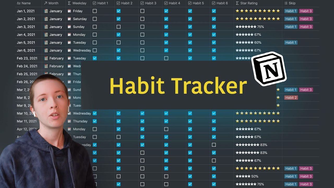 How To Make A Habit Tracker In Notion (w/ Skip Habit Option)