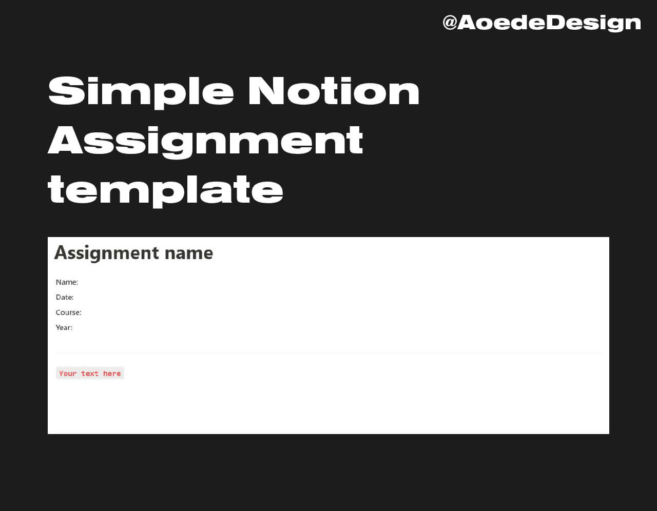 Notion Assignment Template