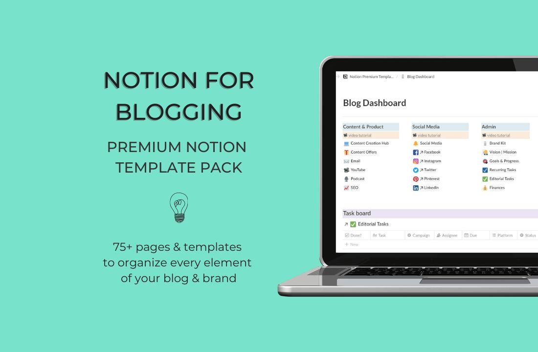 Notion for Blogging Premium Template Pack