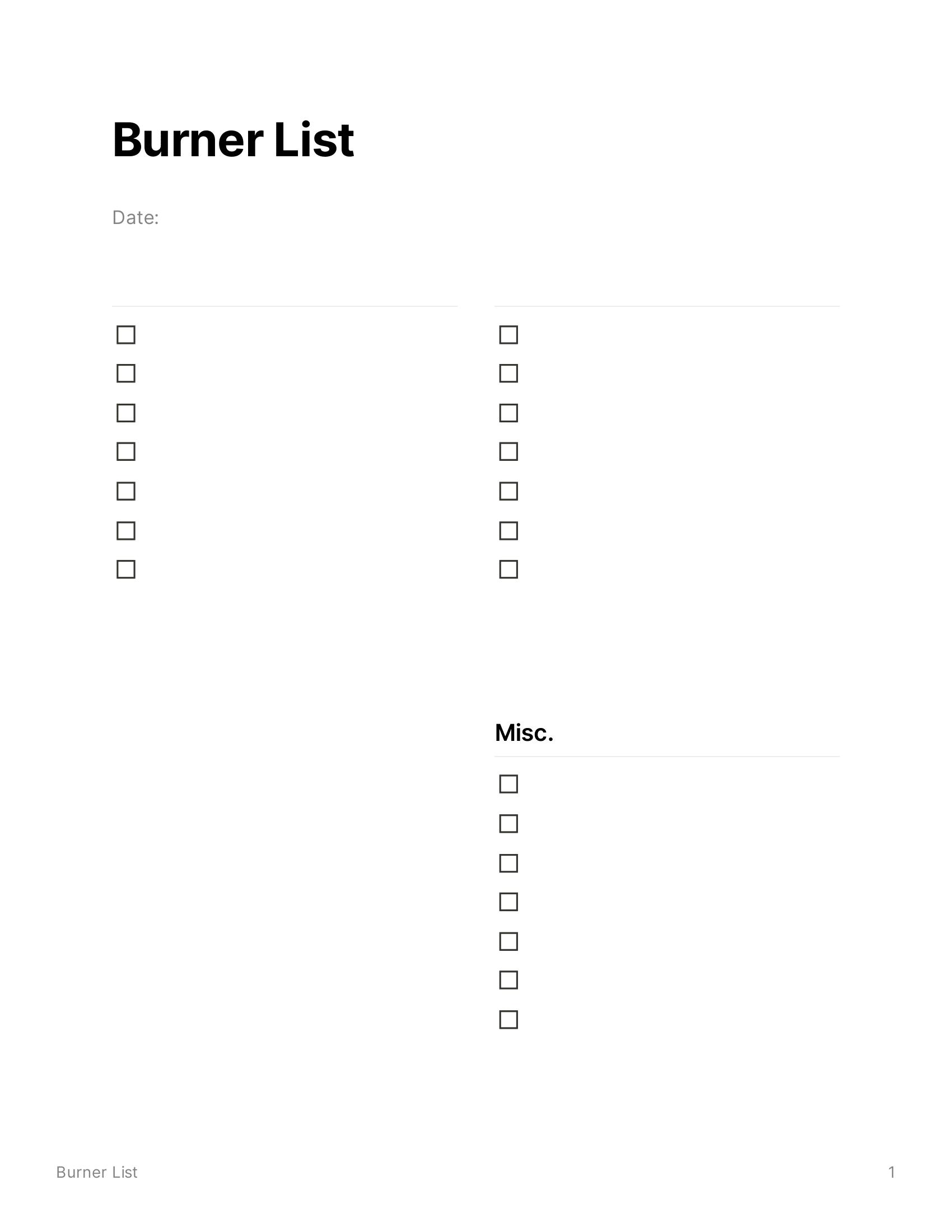 Burner List