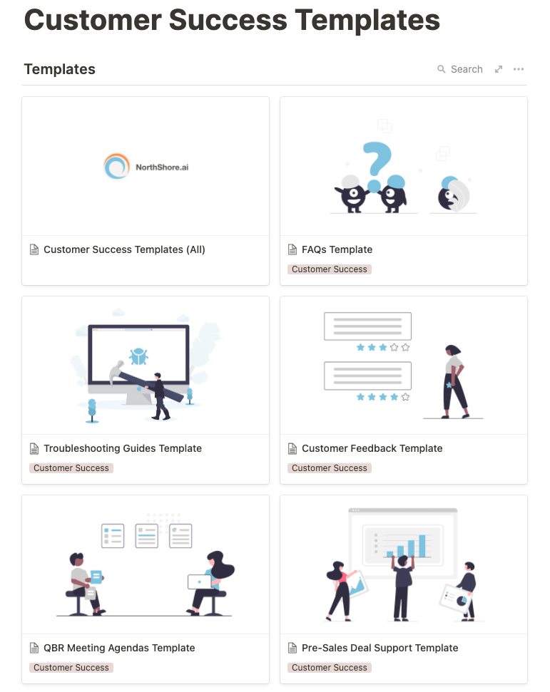 A set of templates for managing Customer Success team knowledge