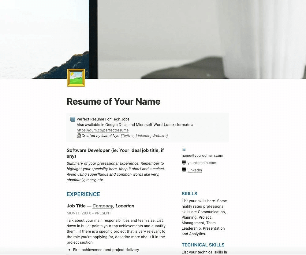 Resume Template for Web Developers, Software Engineers and Product Managers