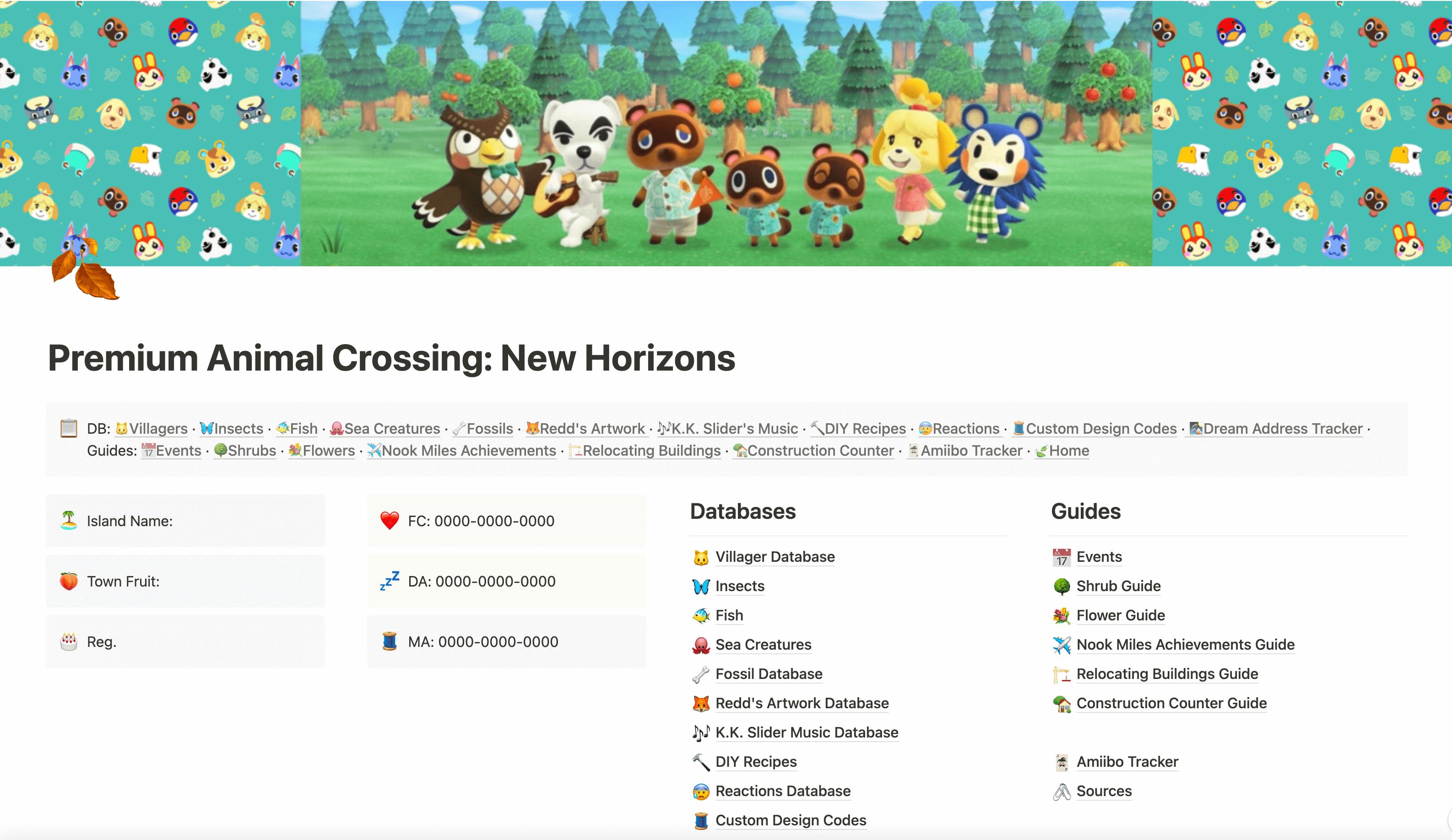 Animal Crossing New Horizons Database