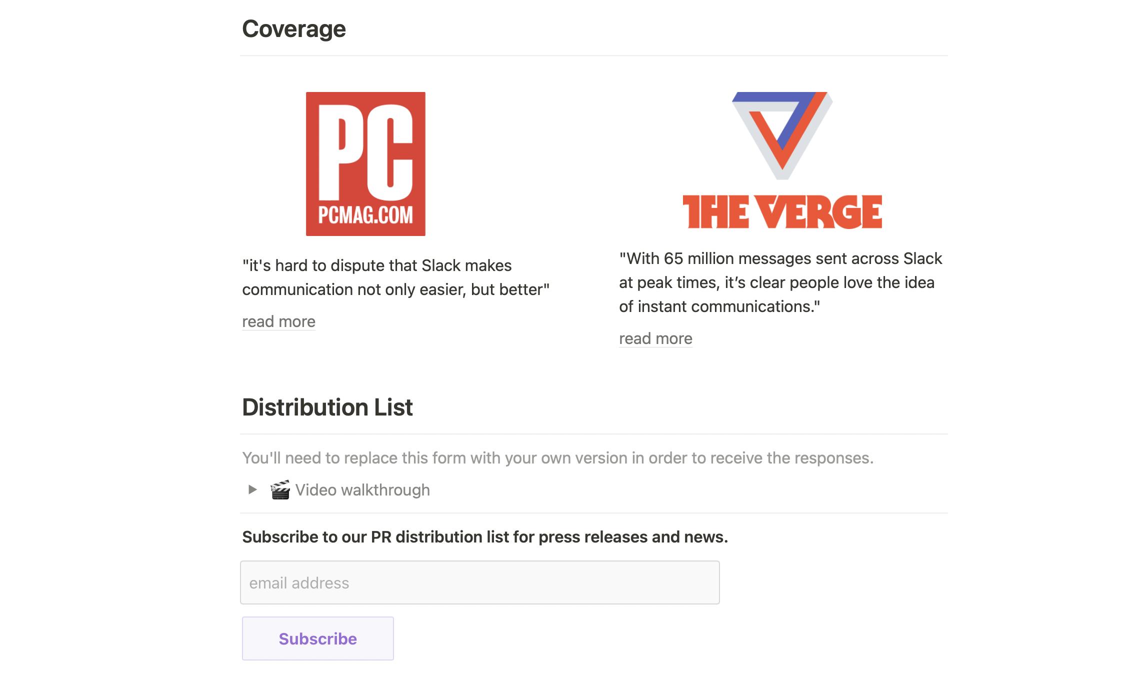 Company Press Page