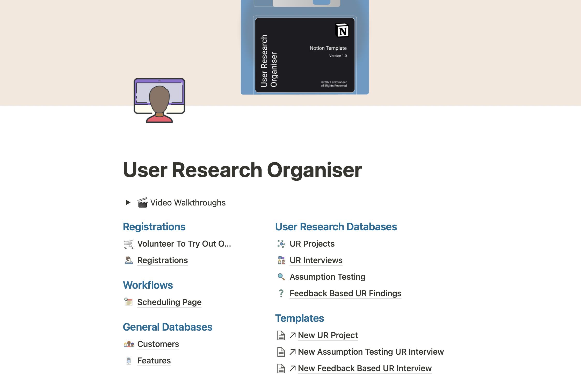 User Research Organiser
