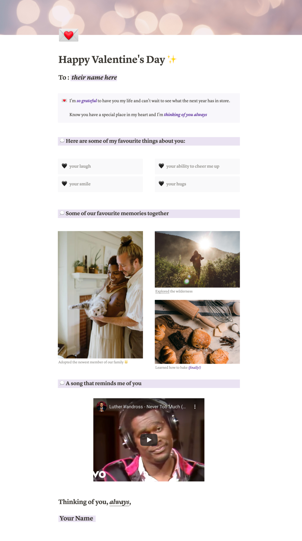 Valentine's Day E-Card   Aesthetic Notion Template Download