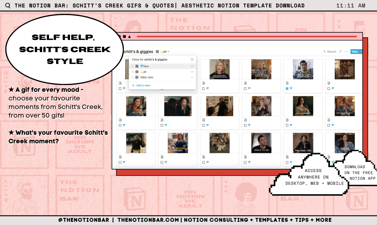 Schitt's Creek Quotes & GIFs | Aesthetic Notion Template Download