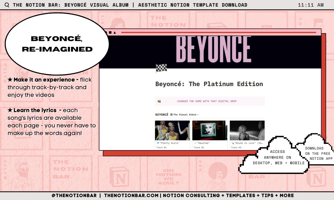 Beyoncé Visual Album | Aesthetic Notion Template Download