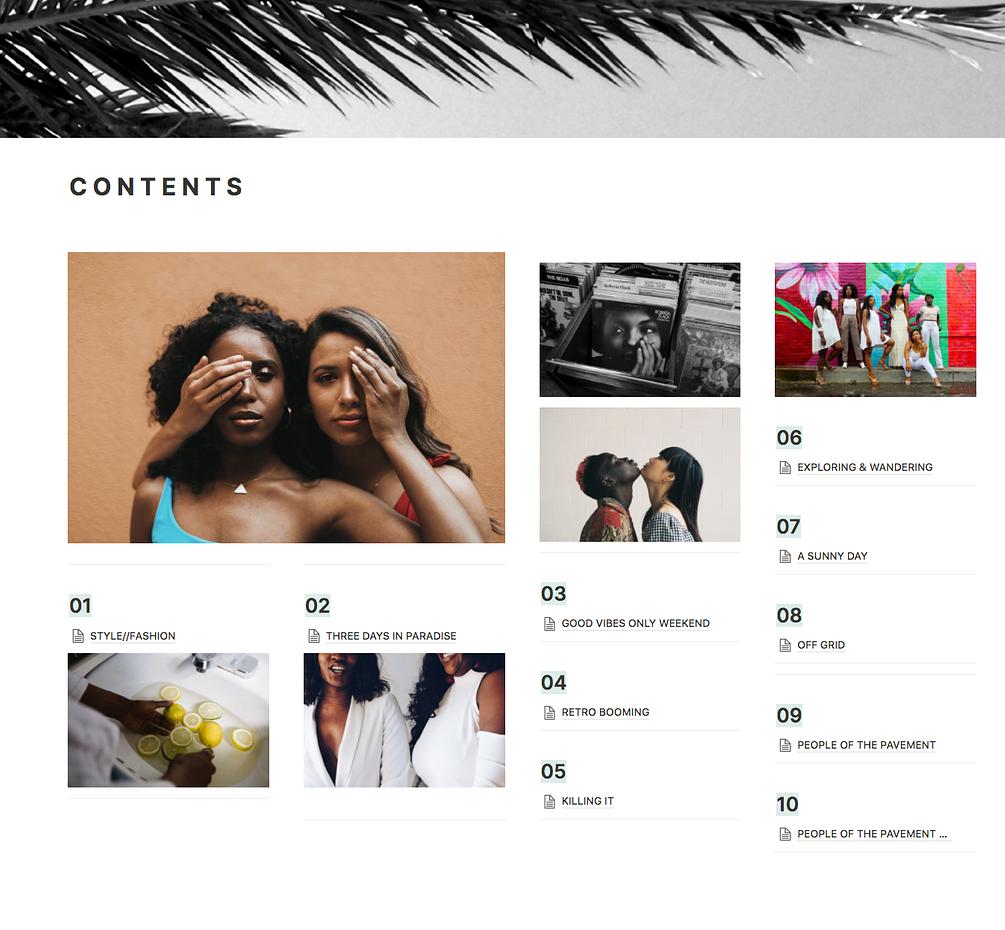 Notion-Zine   Issue One (Ten Magazine Layout Blogging Notion Templates)