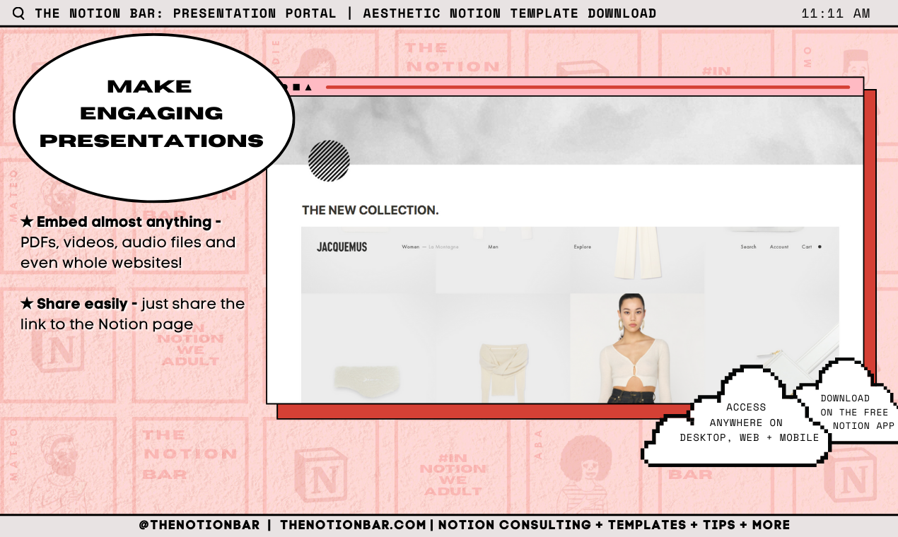 Fashion Portal & Pitch Presentation Template   Aesthetic Notion Template Download