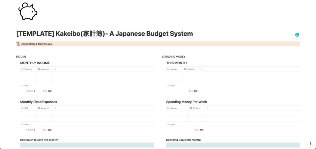 Kakeibo - a Japanese Budget System
