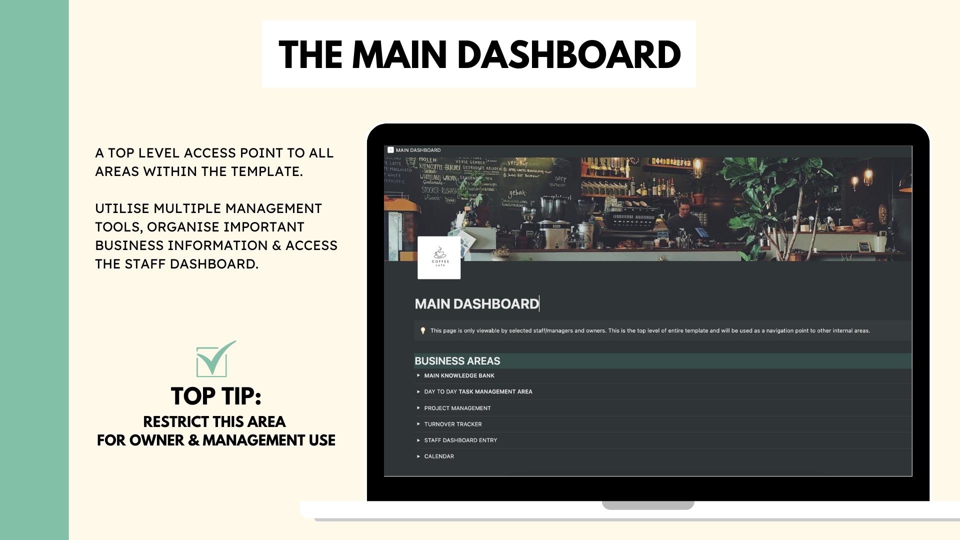 Business Organisation & Management Dashboard for Cafes & Restaurants