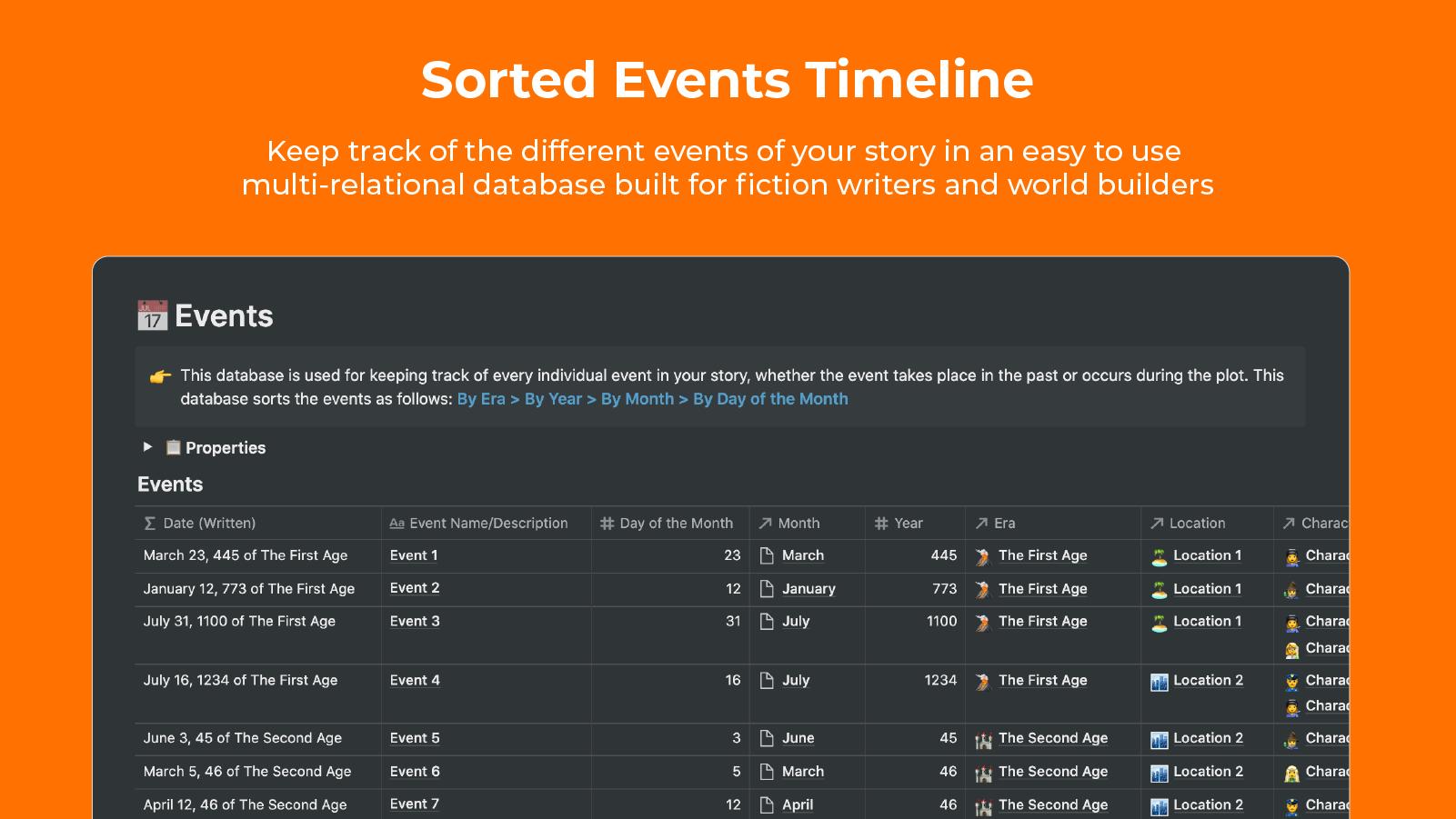Fictional Story Timeline   A StoryFlint Notion Template