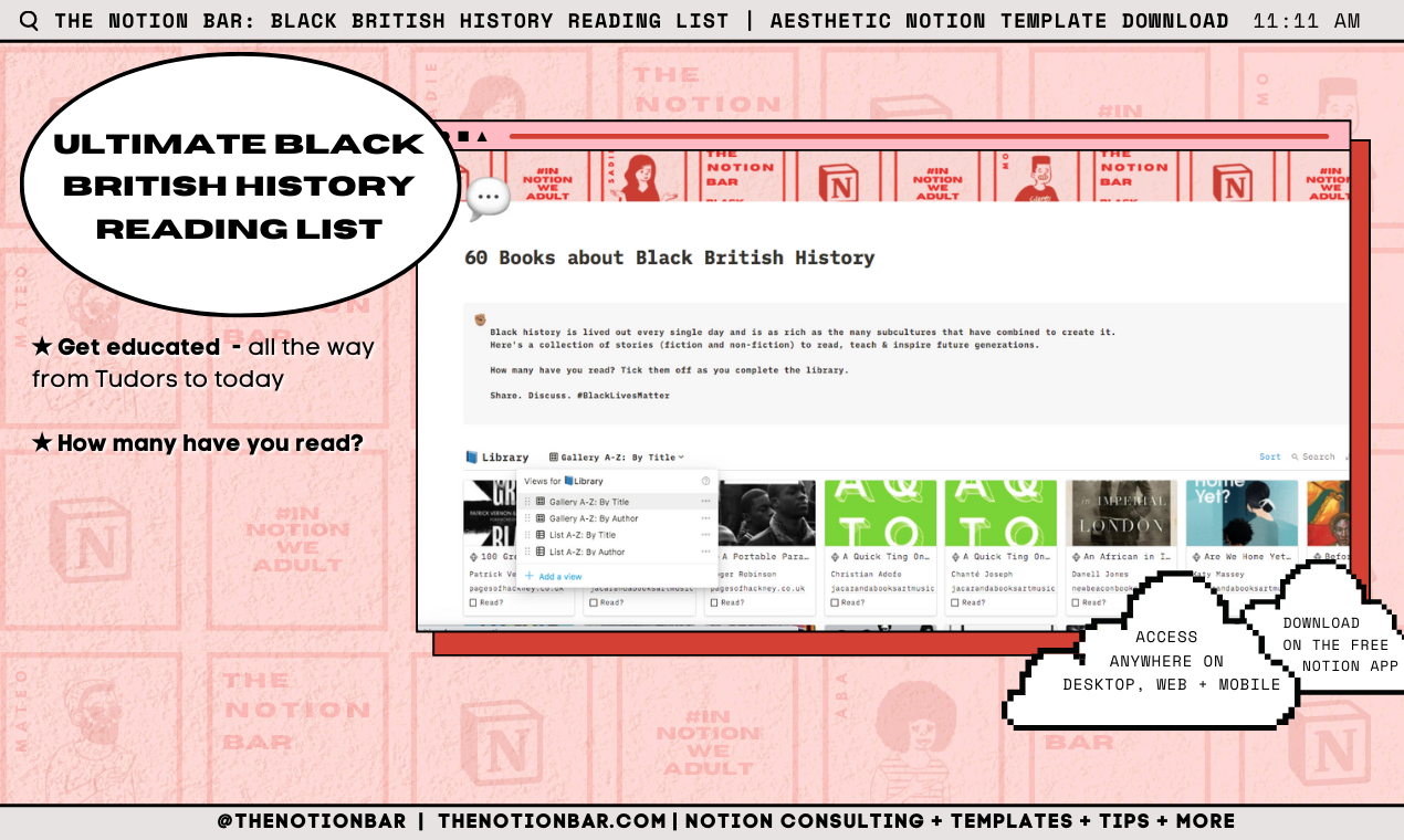 Ultimate Black British History Reading List | Aesthetic Notion Template Download