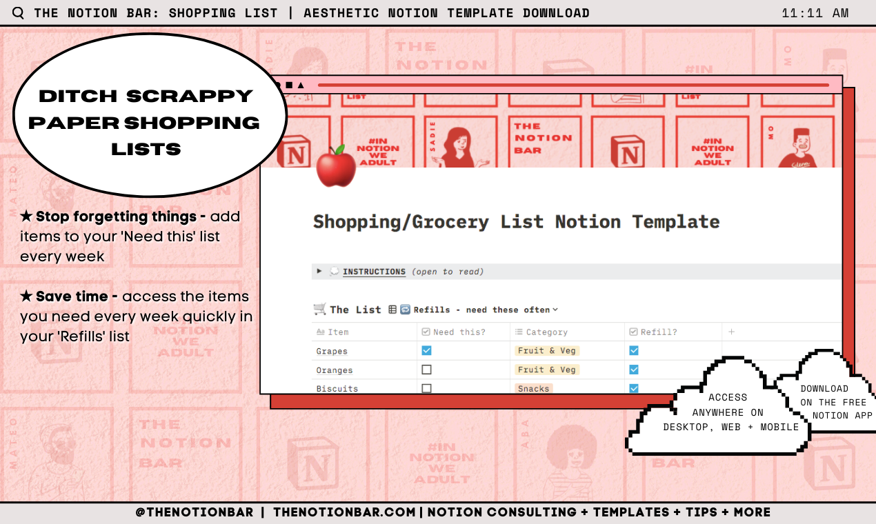 Shopping/Groceries List Manager Notion Template