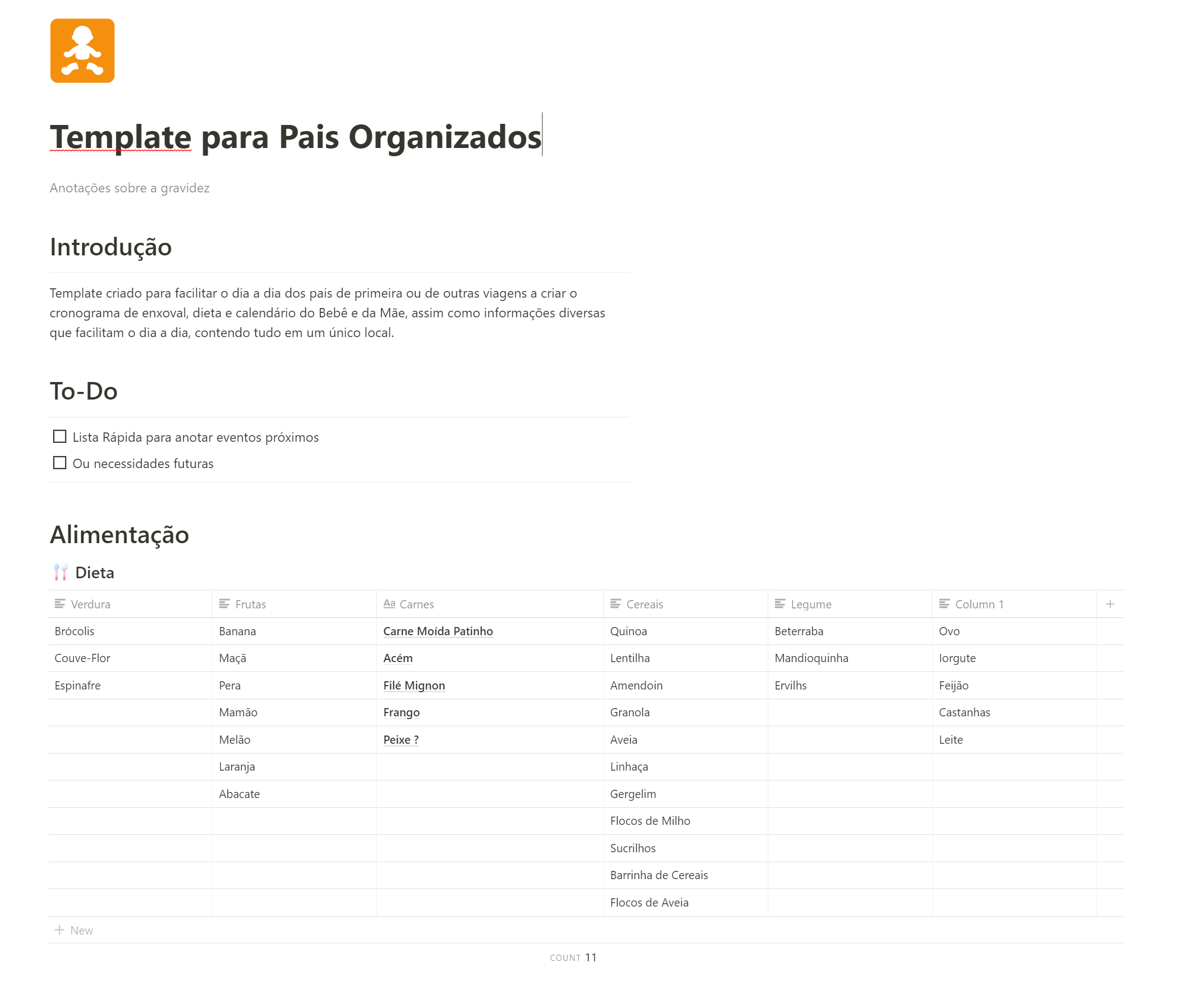 Template for Organized Parents