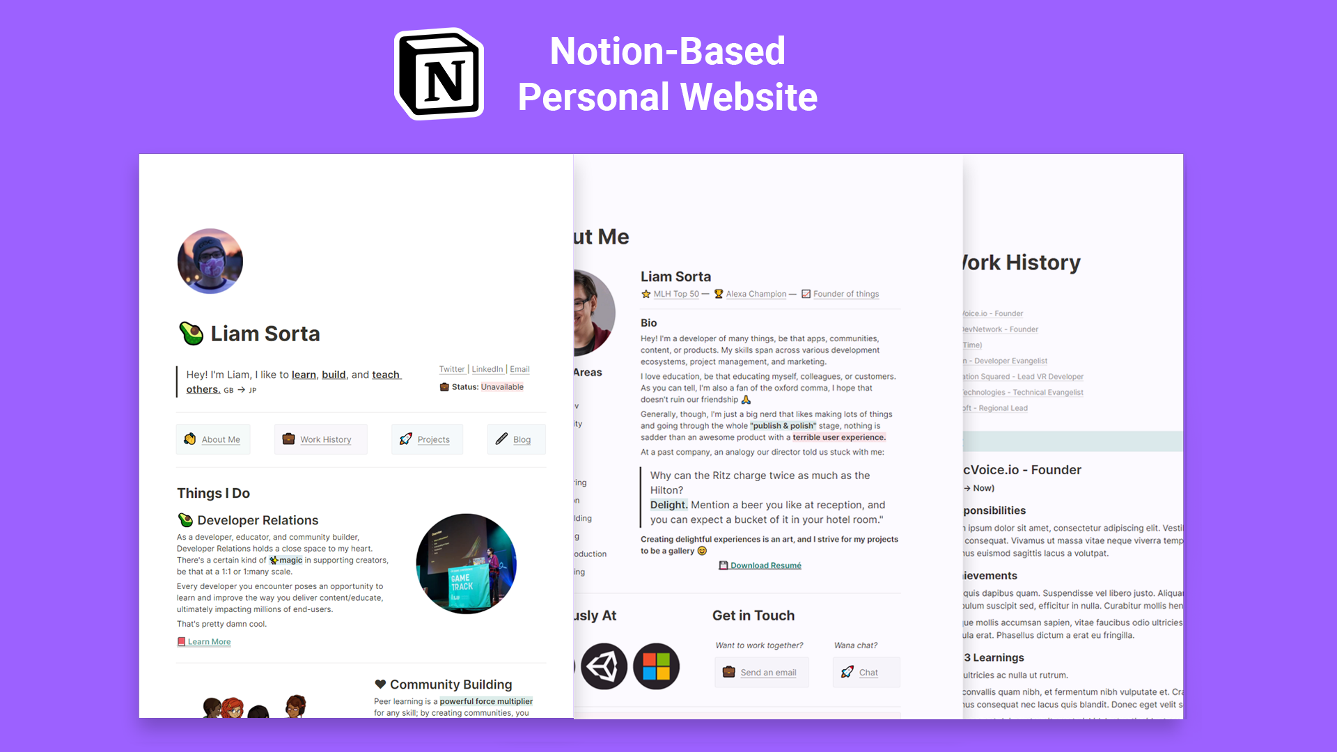 Personal Website for Notion