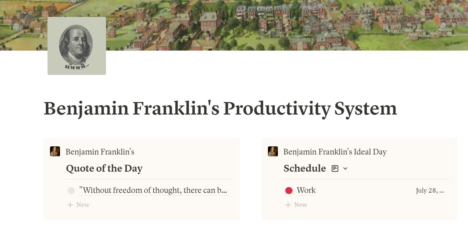 Benjamin Franklin's Productivity System