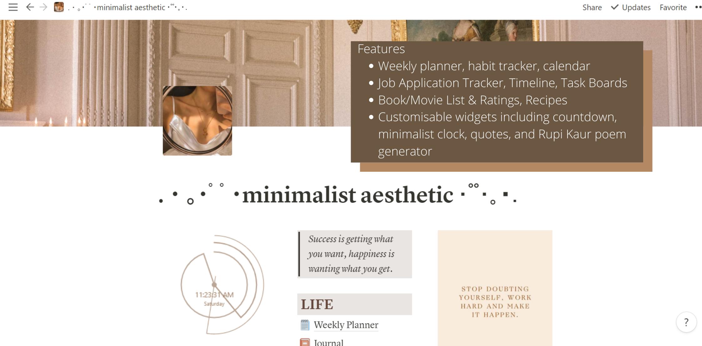 minimalist aesthetic dashboard
