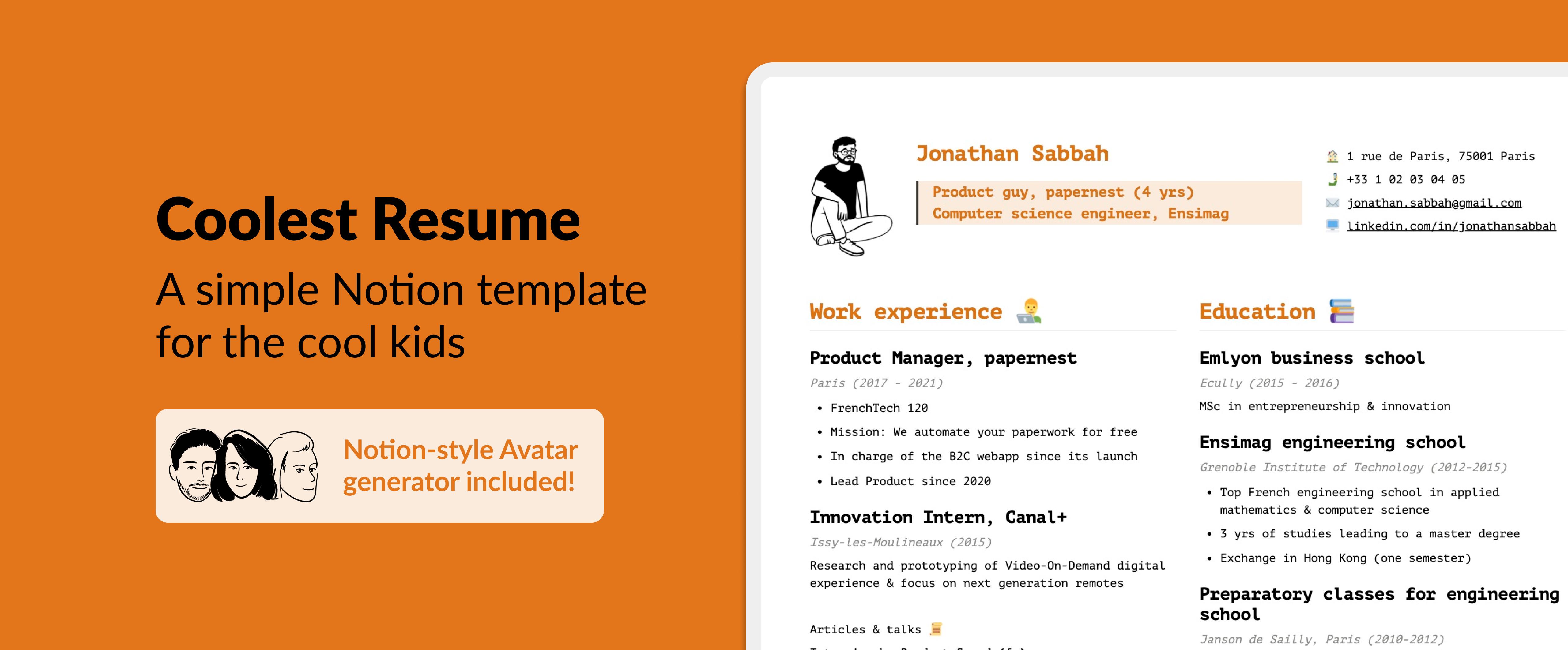 Coolest Resume CV - Notion template