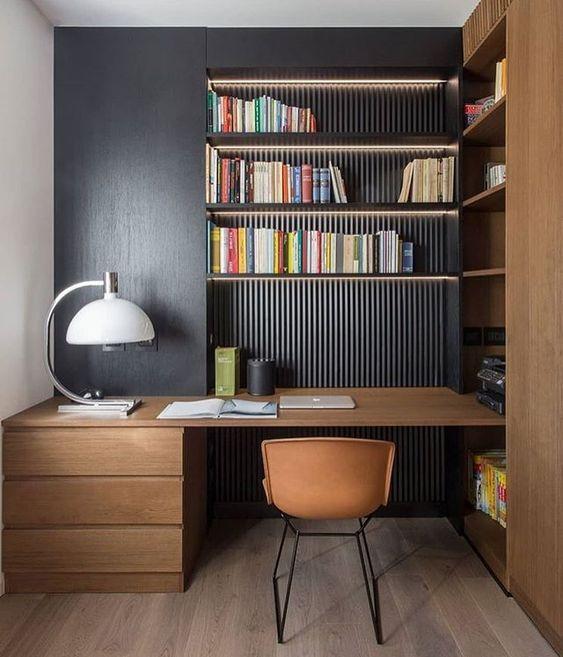 home office madeira escura