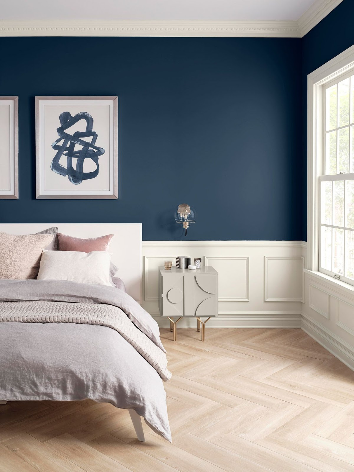 quarto casal parede azul
