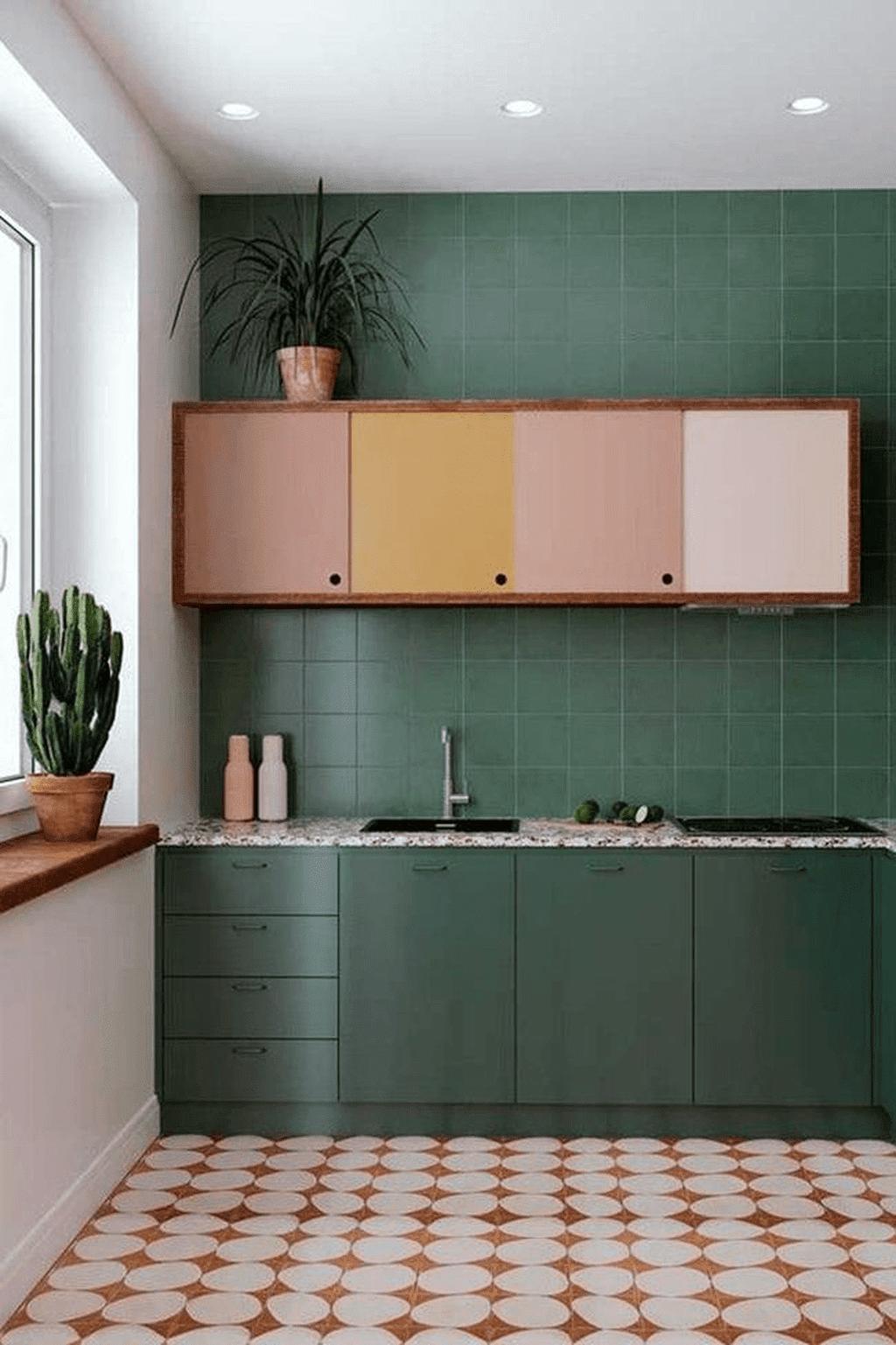 cozinha azulejo quadrado verde