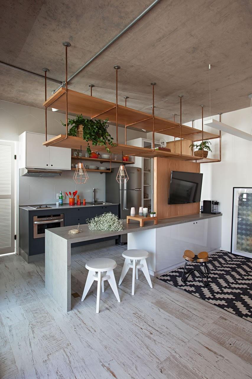 cozinha piso porcelanato madeira