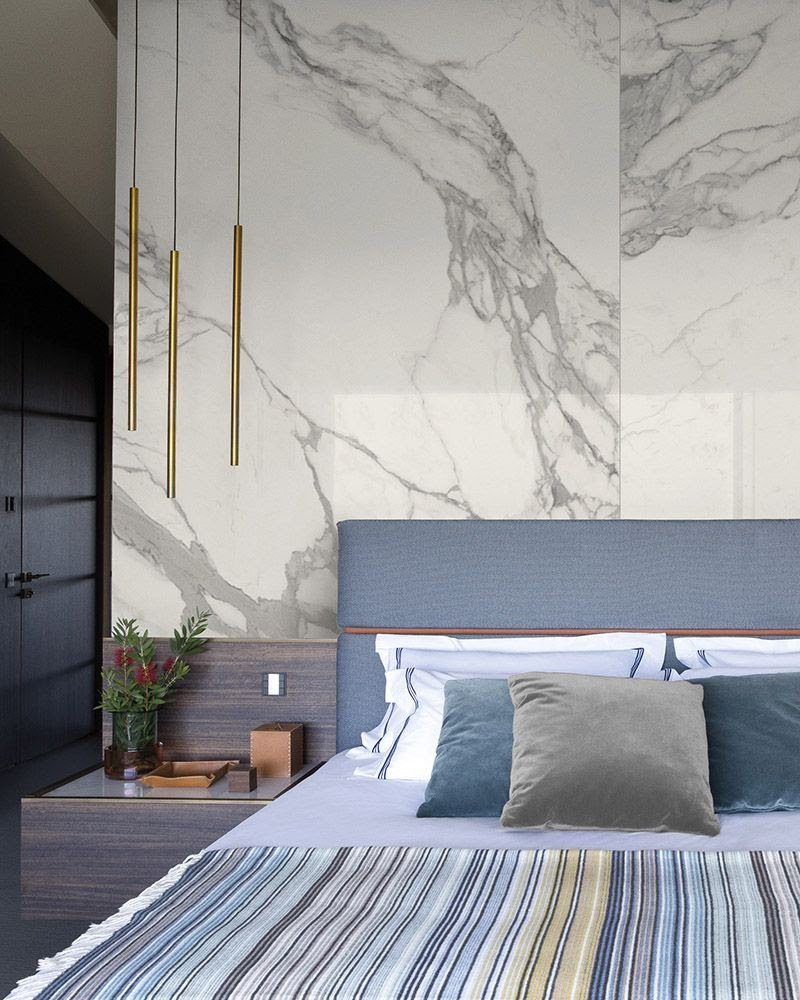 quarto casal porcelanato mármore