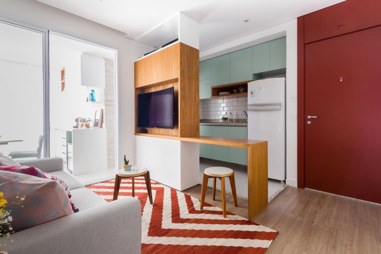 cozinha colorida apartamento pequeno