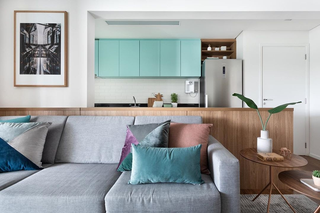 cozinha e sala integrada apartamento pequeno