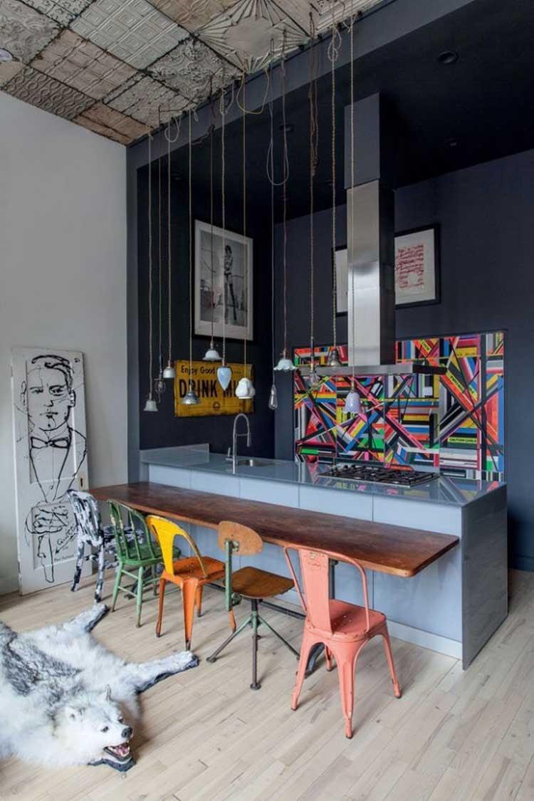 cozinha integrada industrial decoração colorida