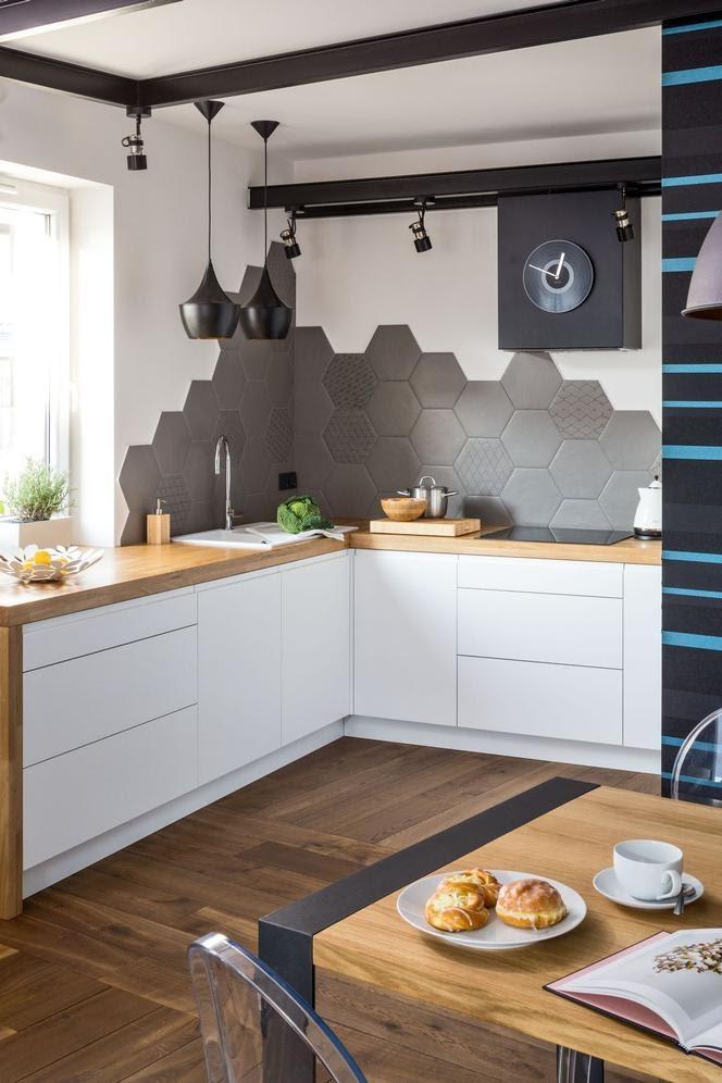 cozinha revestimento hexagonal na parede