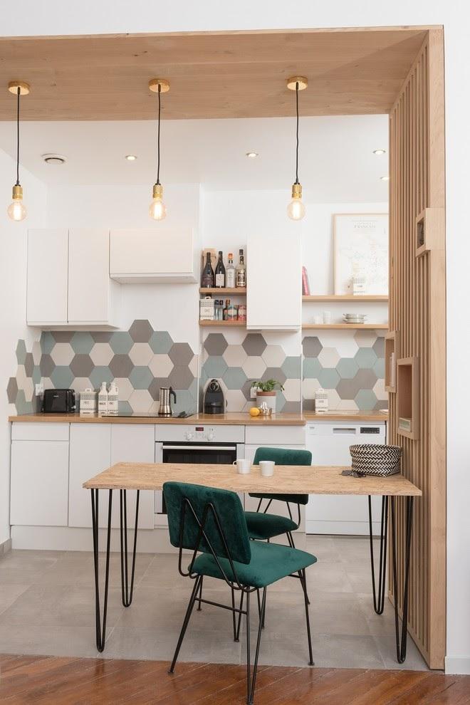 cozinha revestimento hexagonal colorido