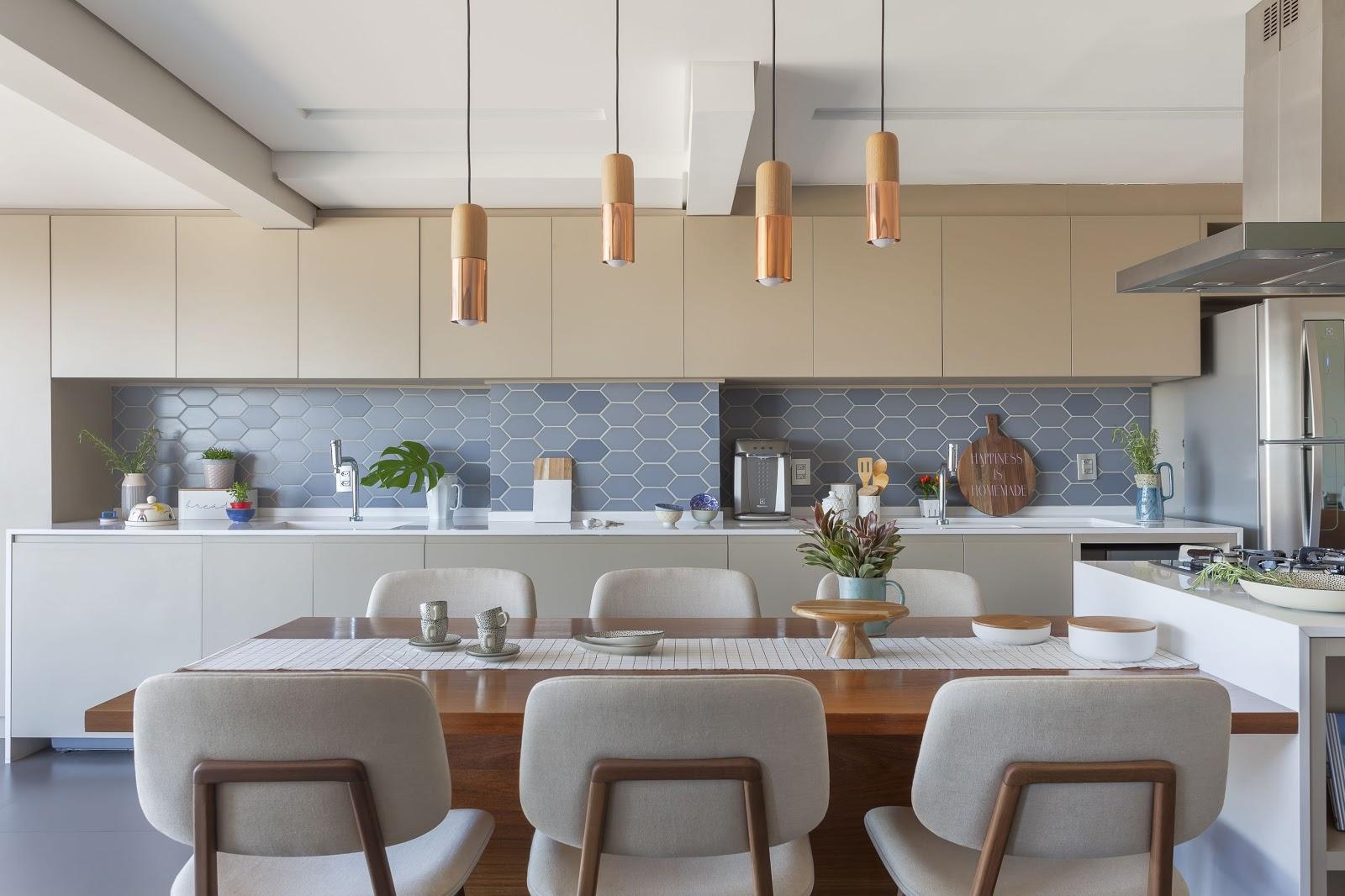cozinha revestimento hexagonal degradê azul