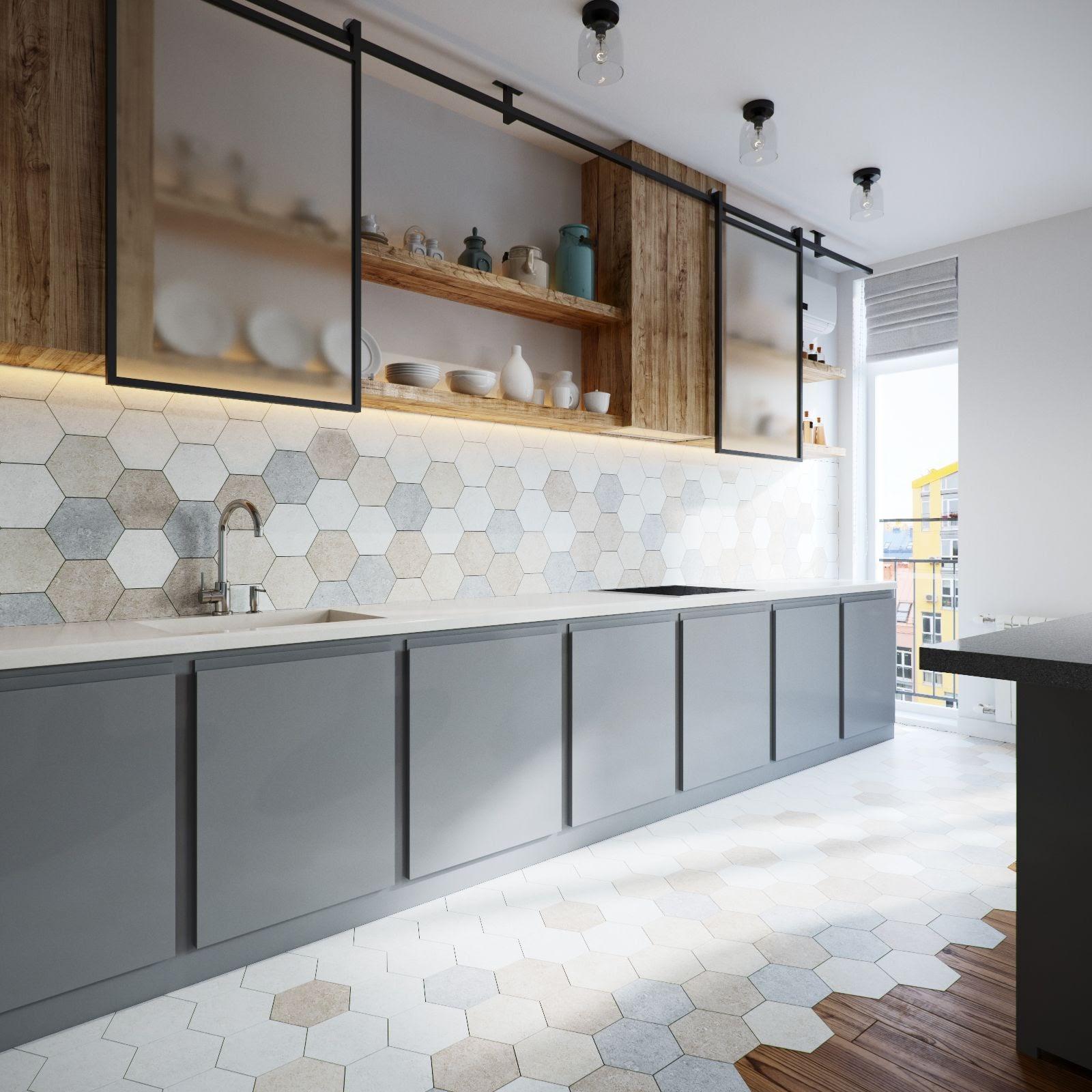 cozinha sala integrada piso revestimento hexagonal colorido