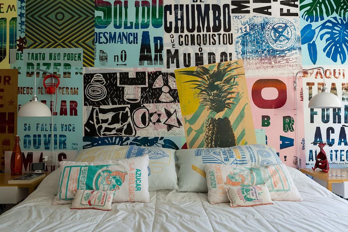 quarto de casal parede de lambe-lambe