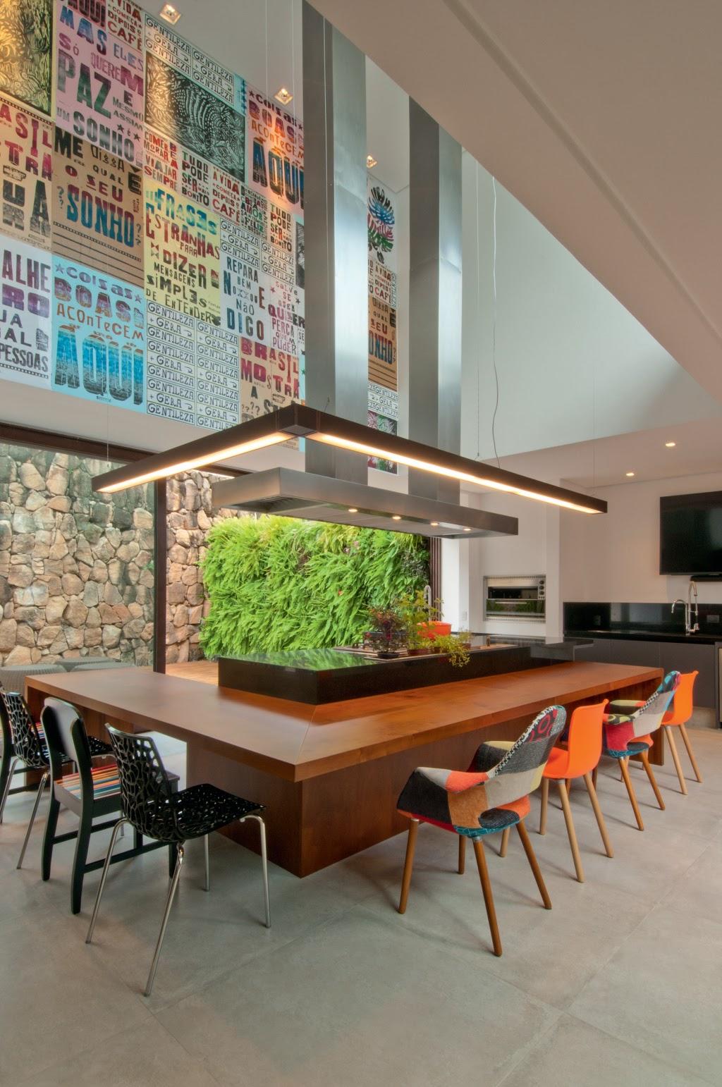 cozinha americana com ilha parede de lambe lambe