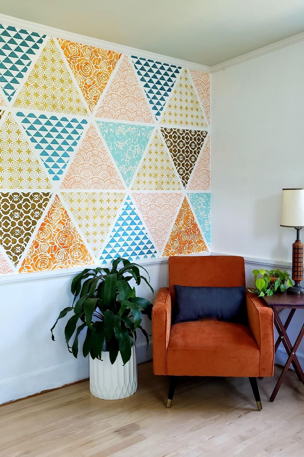 sala parede em patchwork