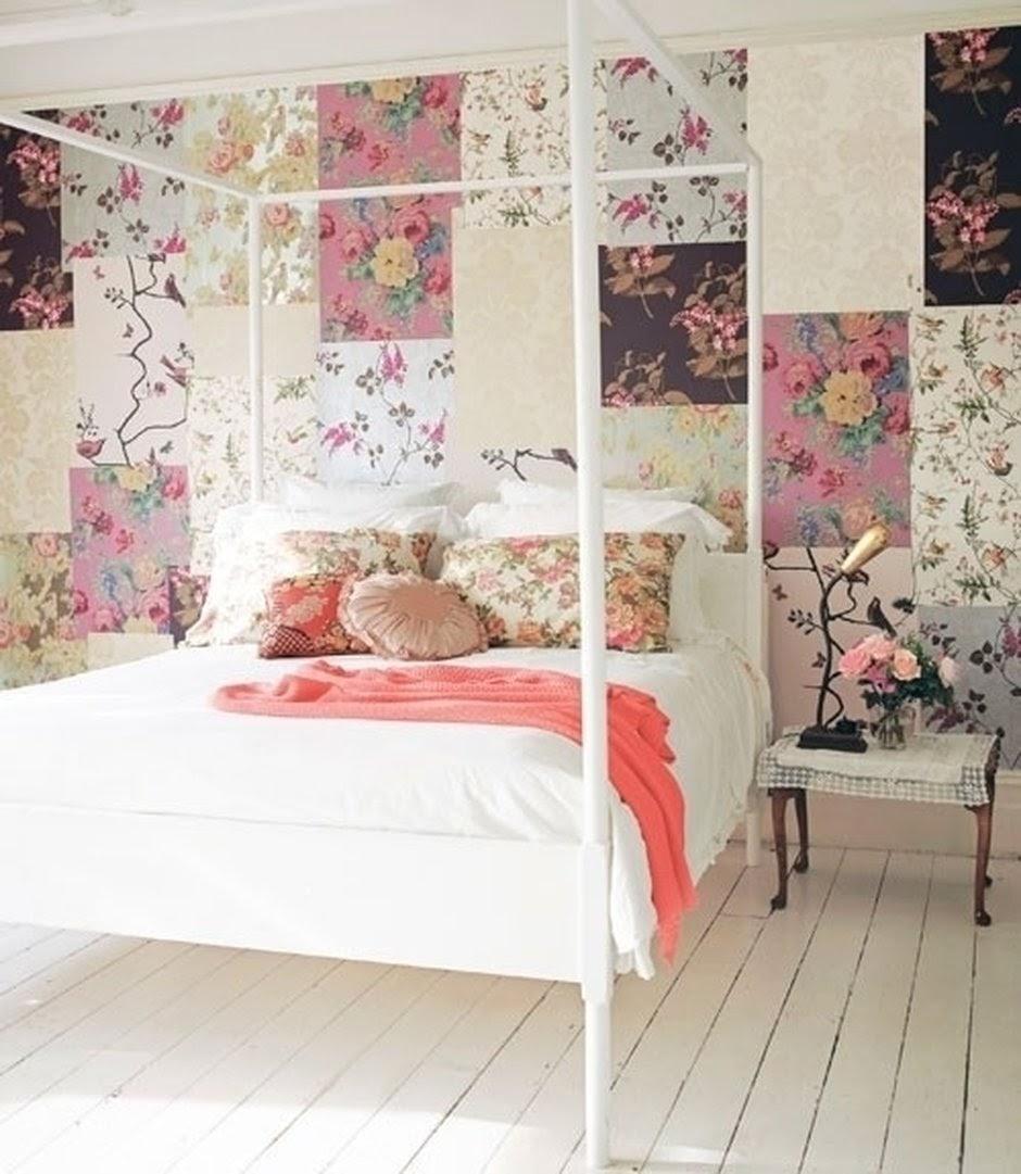 quarto de casal parede em patchwork
