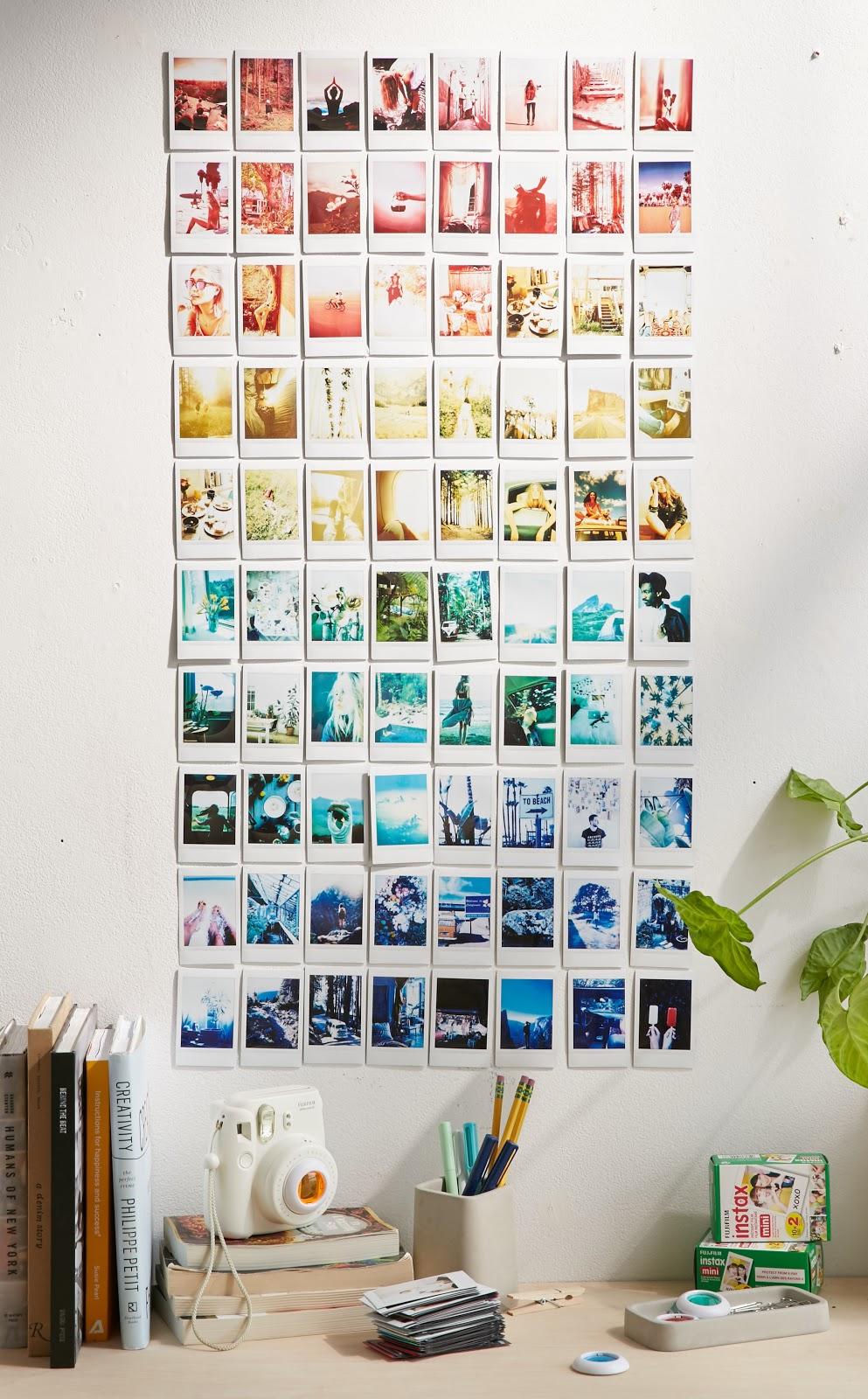 home office parede colagem com fotos