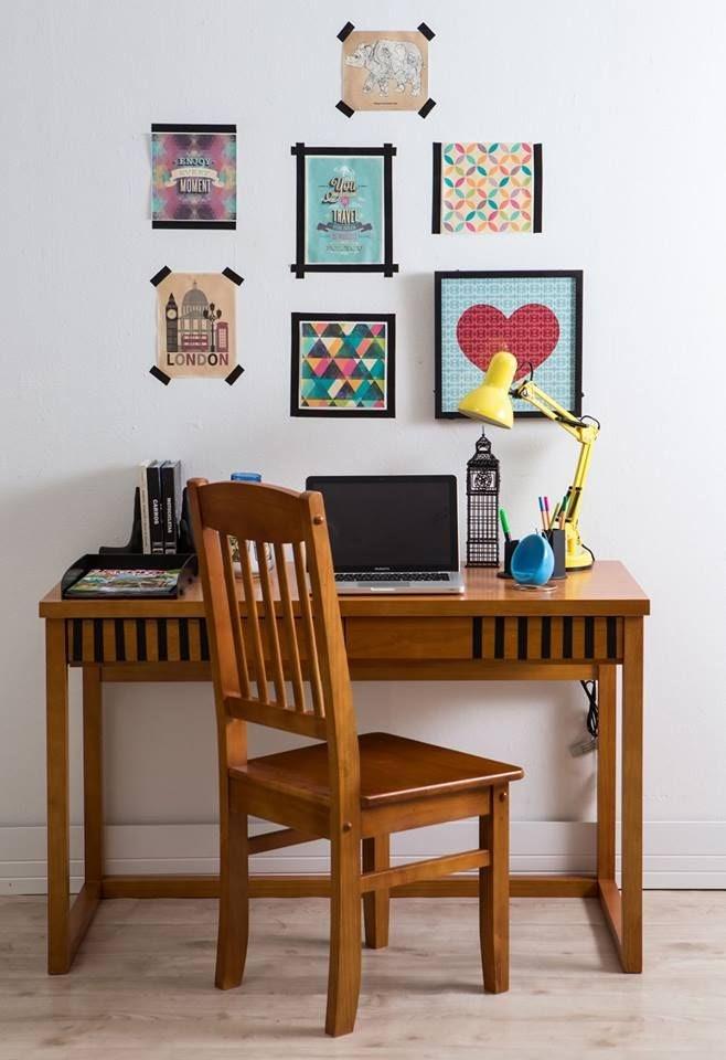 home office parede molduras com fita adesiva