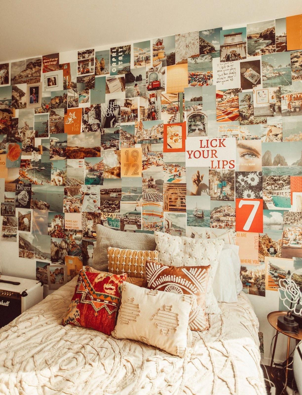 quarto parede colagem com fotos