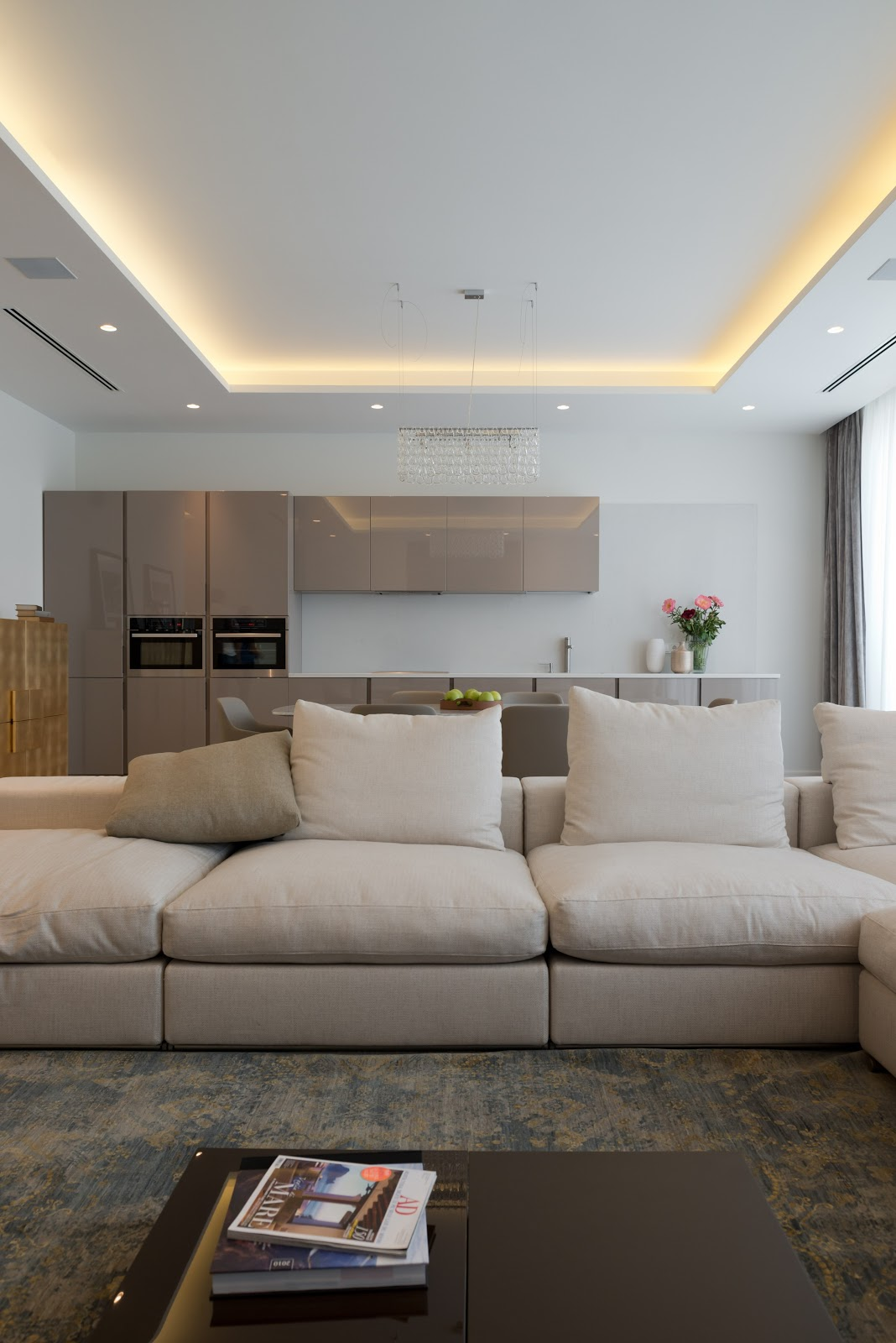 cozinha e sala de estar integradas