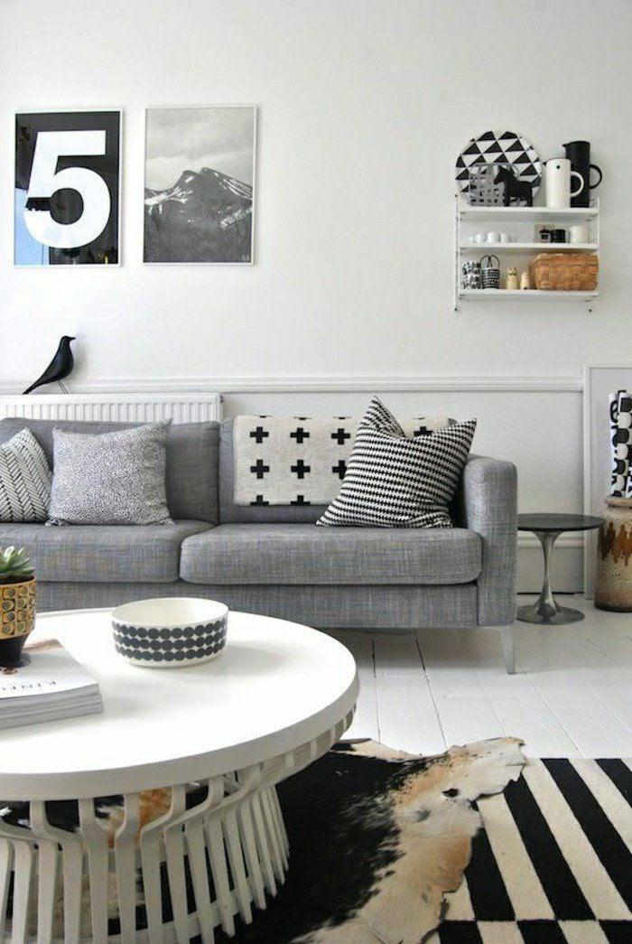 sala de estar preto e branco