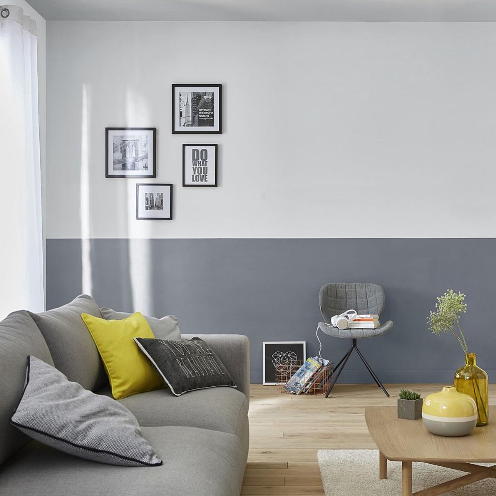 sala de estar decoração cinza e amarelo