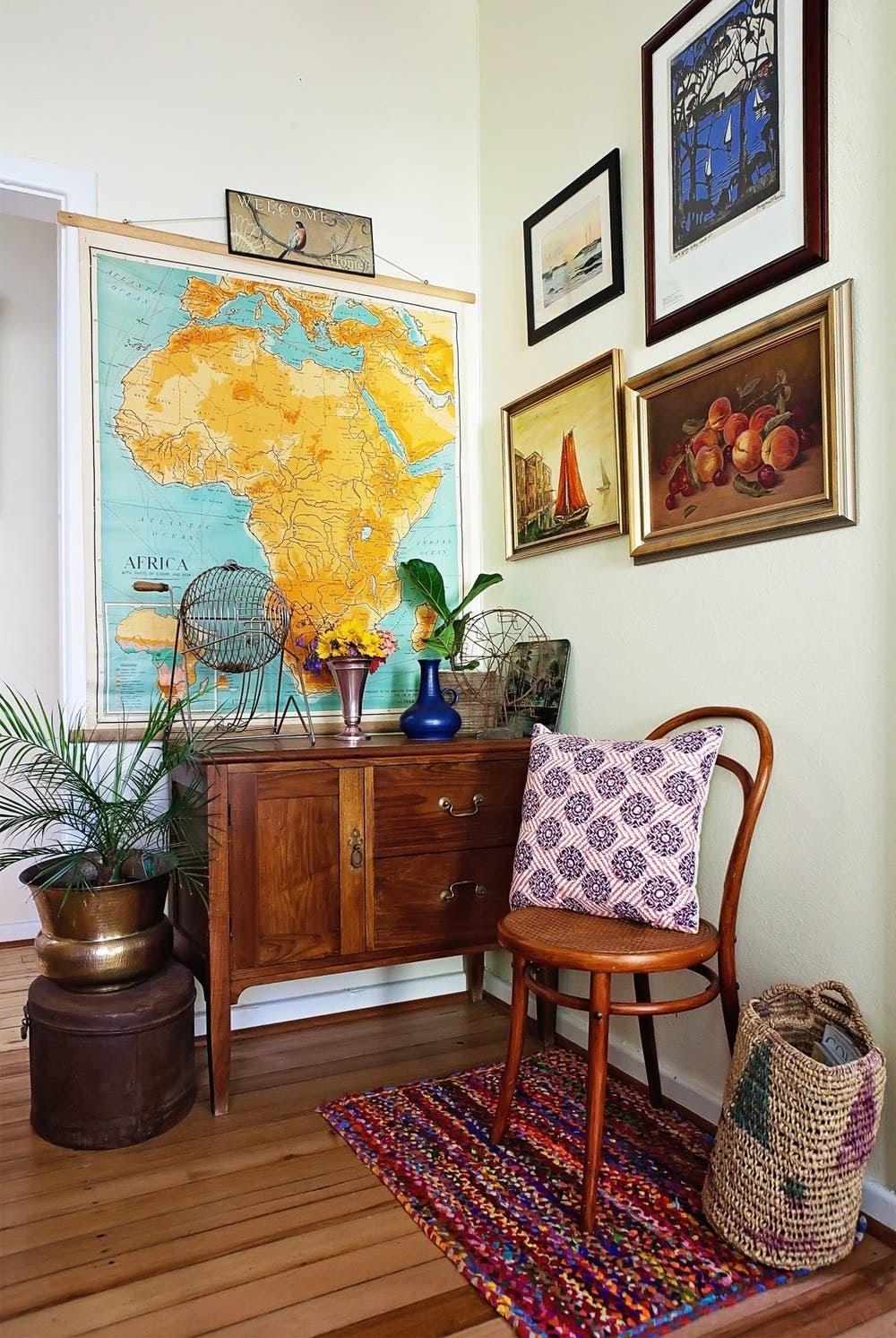 sala de estar decoração vintage